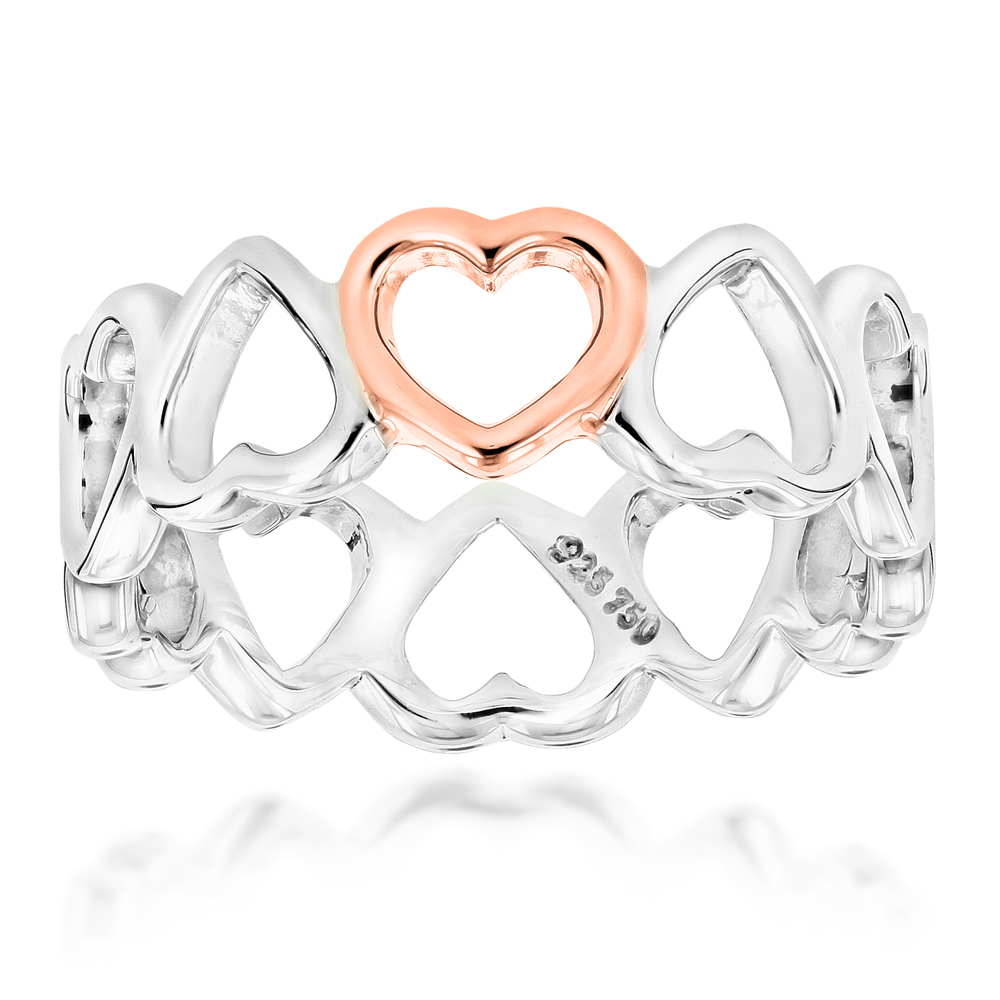 18K Rose Gold Sterling Silver Tiffany Hearts Ring