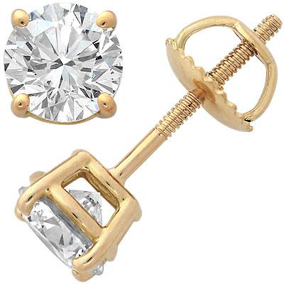 18k Yellow Gold Four-Prong Diamond Stud Earrings 2ct