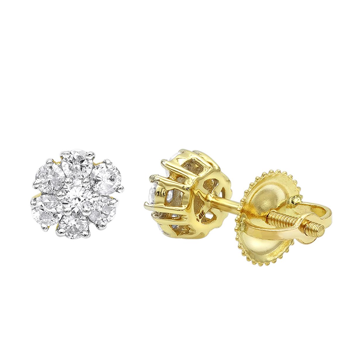 2 Carat Look 14K Gold Cluster Diamond Stud Earrings for Women 1/2ct by Luxurman
