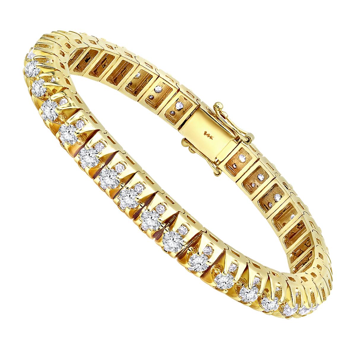 15 Carat Unique Diamond Tennis Bracelet for Men in 14k Gold By Luxurman