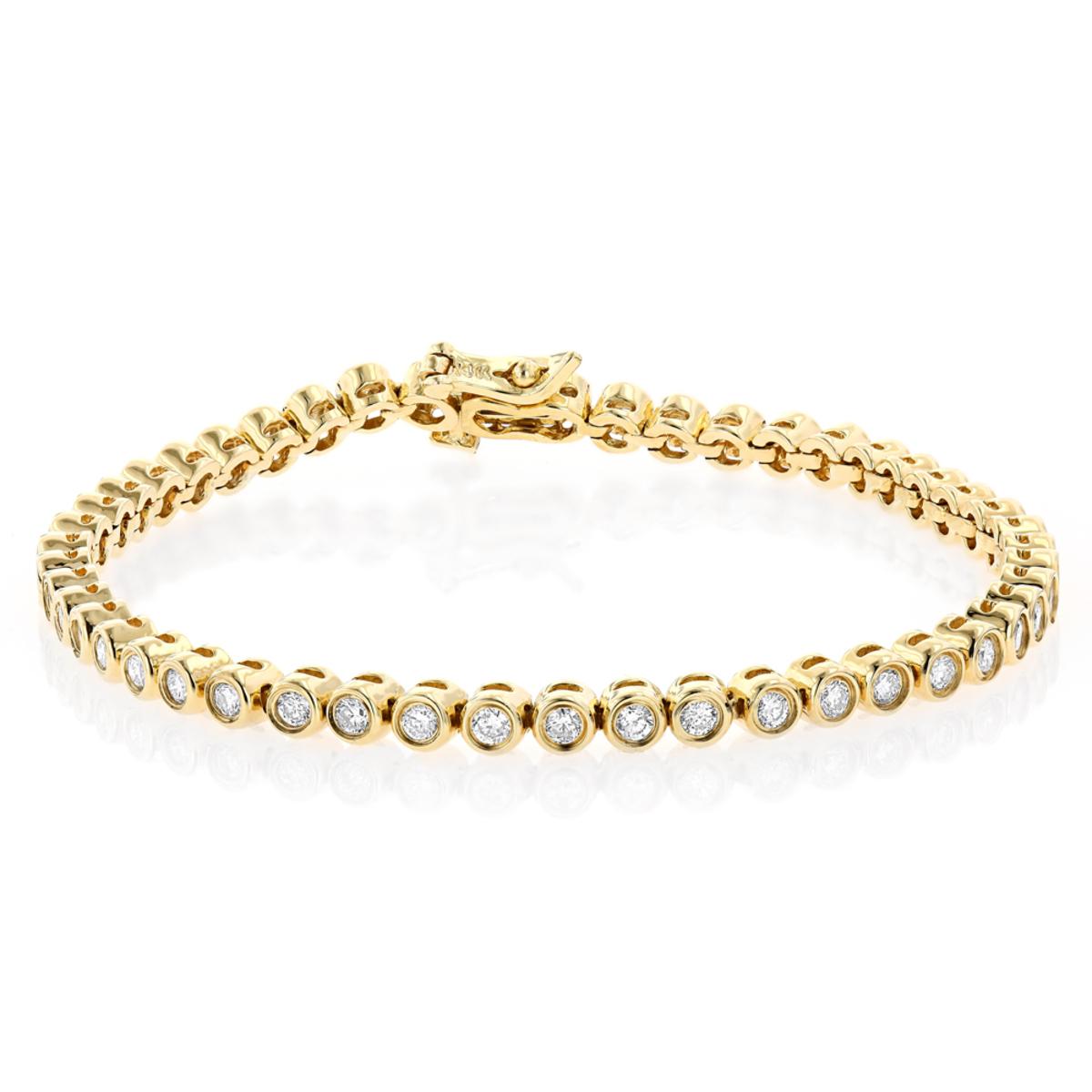 2.20 Carat Diamond Tennis Bracelet 14K Gold Bezel Set