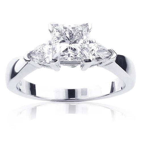 Princess Cut and Pear 3 Stone Rings: Platinum Diamond Engagement Ring GIA