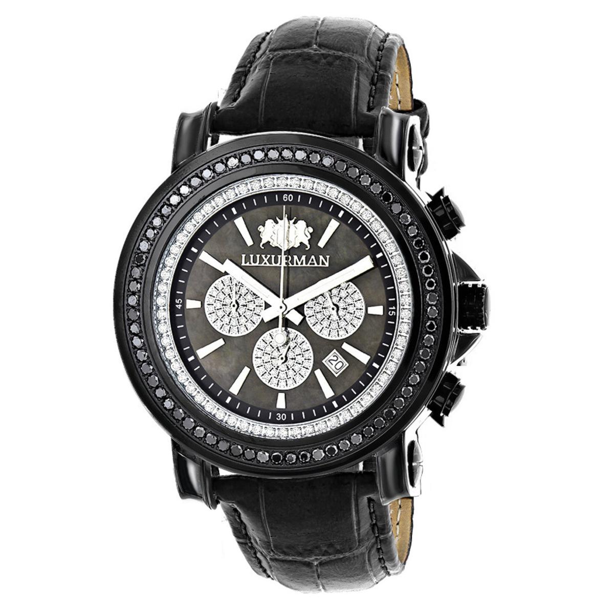 3ct Large Mens Black Diamond Watch MOP Dial w Chronograph Luxurman Escalade