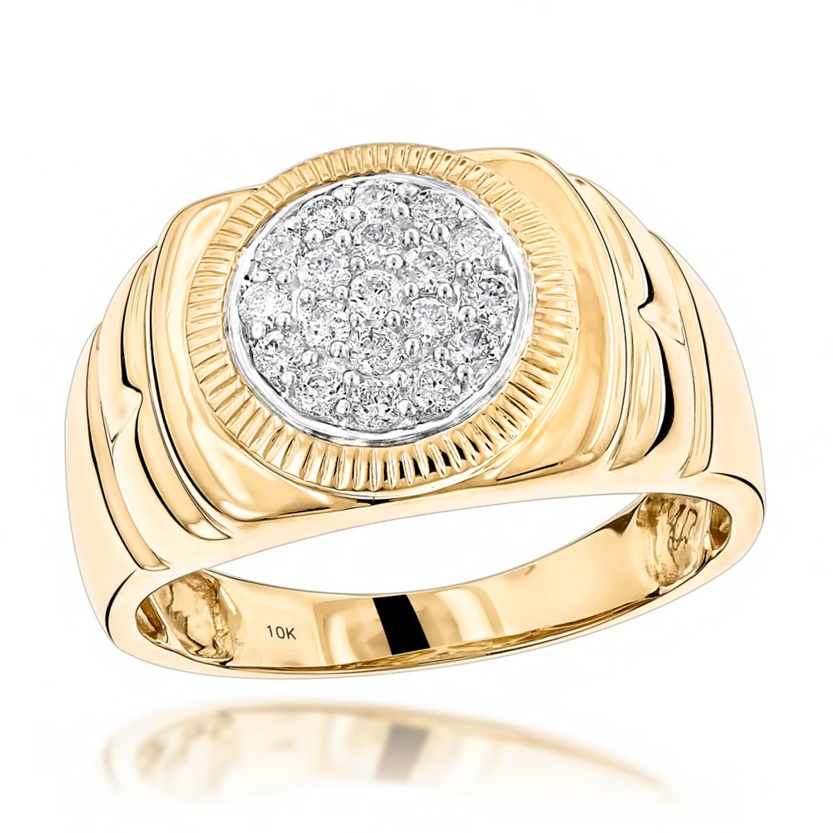 Affordable 10K Yellow Rose White Gold Diamond Cluster Ring for Men 1/2ct
