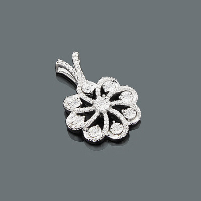 Affordable Diamond Jewelry: Ladies Diamond Flower Pendant 0.12ct 10K
