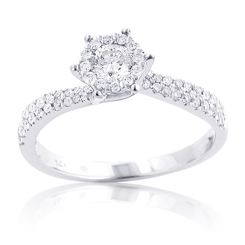 Affordable Round Diamond Engagement Ring 0.64ct 14K Gold