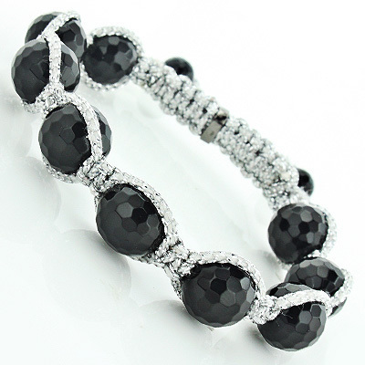 Black Bead Disco Ball Bracelet