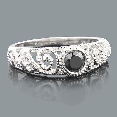 Black Diamond Engagement Ring 0.69ct 14K Gold