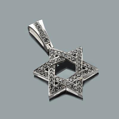 Black Diamond Star of David Pendant 1.44ct 14K Gold