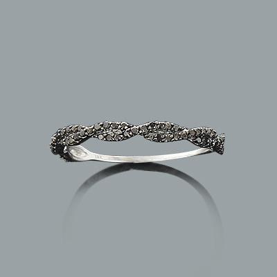 Ultra Thin Black Diamond Twist Ring 0.28ct 14K Stackable