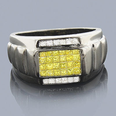 Black Gold Diamond Ring 14K 1ct White Yellow