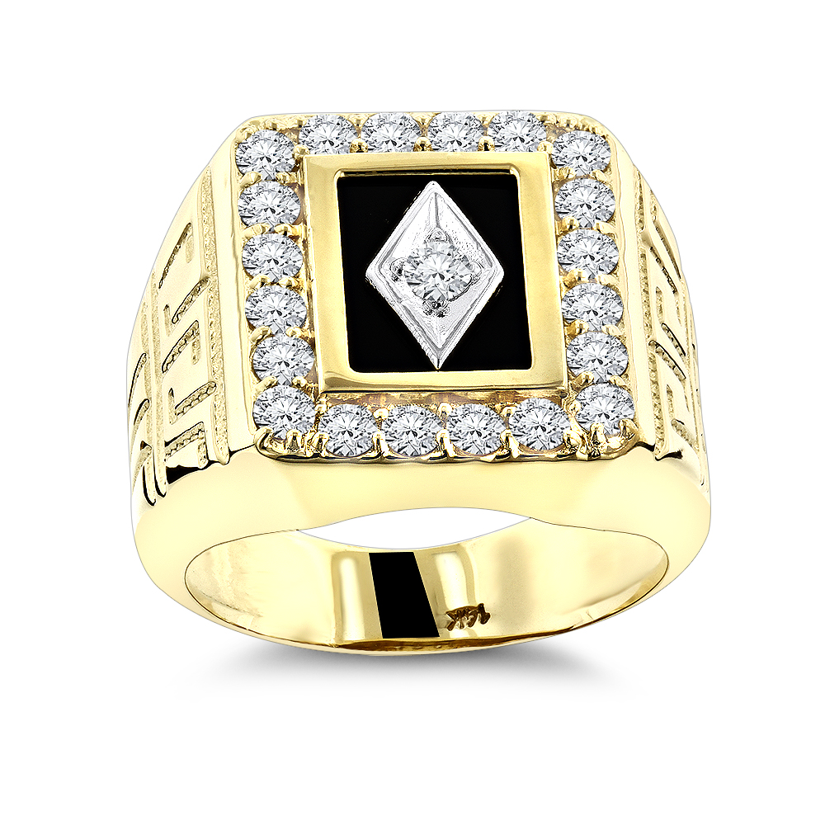 Black Onyx and Diamond Rings 14K Gold Mens Ring 1.68ct