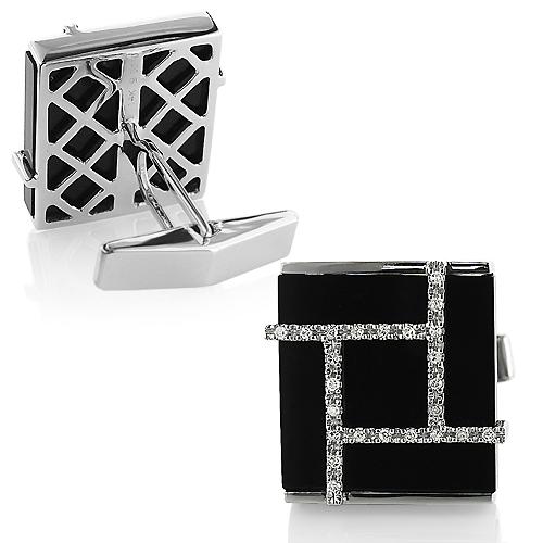 Black Onyx and Diamonds 14K Gold Mens Cufflinks