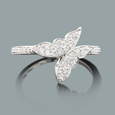 Butterfly Jewelry: Ladies Gold Diamond Ring 0.23ct 14K
