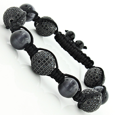 Crystal Bead Jewelry: Disco Ball Iced Out Black Bracelet