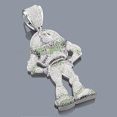 Custom Jewelry: Buzz Lightyear Diamond Pendant 10K Gold 4.2ct