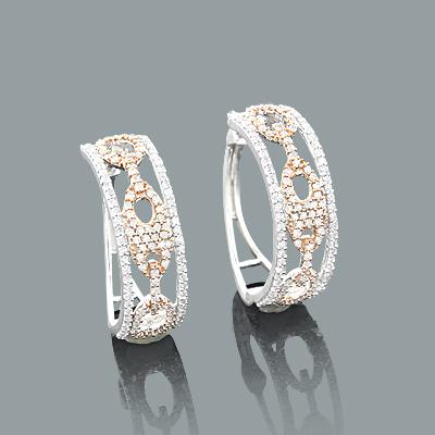 Cutout Diamond Hoop Earrings 0.83ct 14K Gold