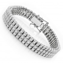 10K Gold 3-Row Prong Diamond Bracelet For Men 1.85ct