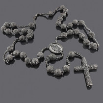 10K Gold Black Diamond Rosary Necklace 115.55ct