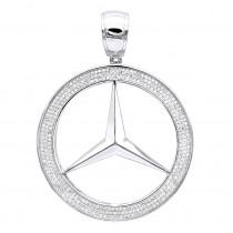 10K Gold Diamond Mercedes-Benz Pendant for Men 1 Carat