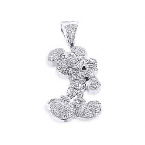 10K Gold Diamond Mickey Mouse Pendant 3.25ct