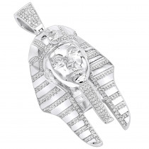 10K Gold Egyptian Pharaoh Head Diamond Pendant for Men 8ct by Luxurman