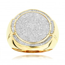 10K Gold Pave Round Diamonds Ring For Men 0.7ct