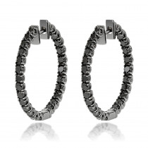 14K Black Diamond Hoop Earrings 3.15ct