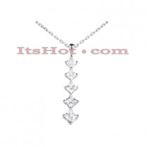 14k Gold 5 Stone Diamond Journey Pendant 2.10ct