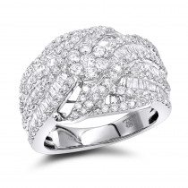 14k Gold Baguette Round Diamond Ladies Cocktail Ring 2.25ct by Luxurman