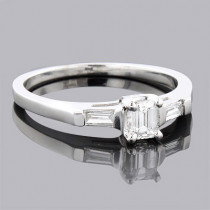 Affordable 3 Stone Baguette and Emerald Diamond Engagement Ring 14k Gold