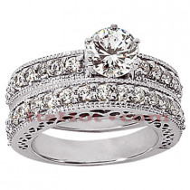 14K Gold Designer Diamond Engagement Ring Set 1.05ct