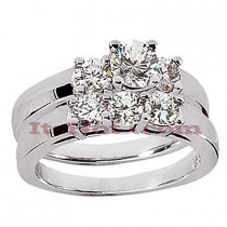 14K Gold Designer Diamond Engagement Ring Set 1.41ct