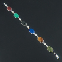 14K Gold Diamond and Multi Color Scarab Bracelet 0.72ct