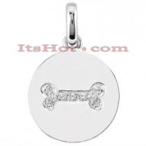 14K Gold Diamond Bone Dog Tag Pendant 0.08ct