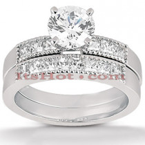 14K Gold Diamond Designer Engagement Ring Set 0.95ct