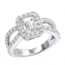 Halo 14K Gold Diamond Engagement Ring Mounting 0.66ct