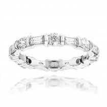 14K Gold Baguette and Round Diamond Eternity Band by Luxurman 1.26ct