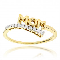 14K Gold Diamond Mom Ring 0.13ct Journey Diamond Jewelry Style