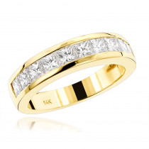 14K Gold G/VS Princess Cut Diamond Wedding Band 1.75ct