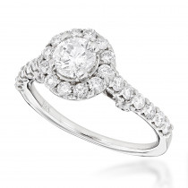 14K Gold Halo Engagement Ring with Round Diamonds 1.32ct
