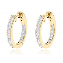 14K Gold Inside Out Channel Set Diamond Hoop Earrings 1.45ct