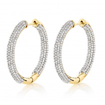 14K Gold Inside Out Diamond Hoop Earrings 2.63ct