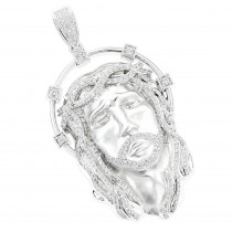 14k Gold Jesus Face Diamond Pendant 3.55ct