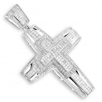 14K Gold Mens Large Diamond Cross Pendant 5.99ct