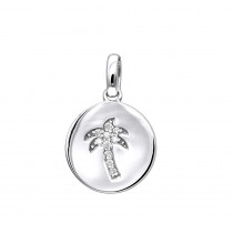 14K Gold Palm Tree Circle Diamond Pendant 0.1ct Small Charm