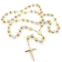 14K Gold Rosary Beads Three Tone Chain Necklace 8mm 30in