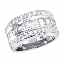 14K Gold Round & Baguette Diamond Band 2.86ct