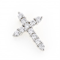 14K Gold Round Diamond Cross Pendant 1 carat