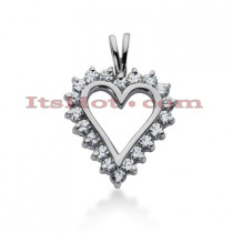 14k Gold Round Diamond Heart Necklace 4ct